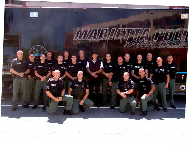 The Marietta PD SWAT with The Gunny R. Lee Ermey (center)
